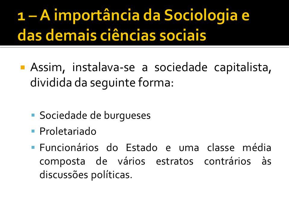 Assim, instalava-se a sociedade capitalista, dividida da seguinte forma: Sociedade de burgueses Proletariado Funcionários do Estado e uma classe média