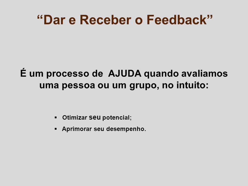 Dar e Receber o Feedback É um processo de AJUDA quando avaliamos uma pessoa ou um grupo, no intuito: Otimizar seu potencial; Aprimorar seu desempenho.