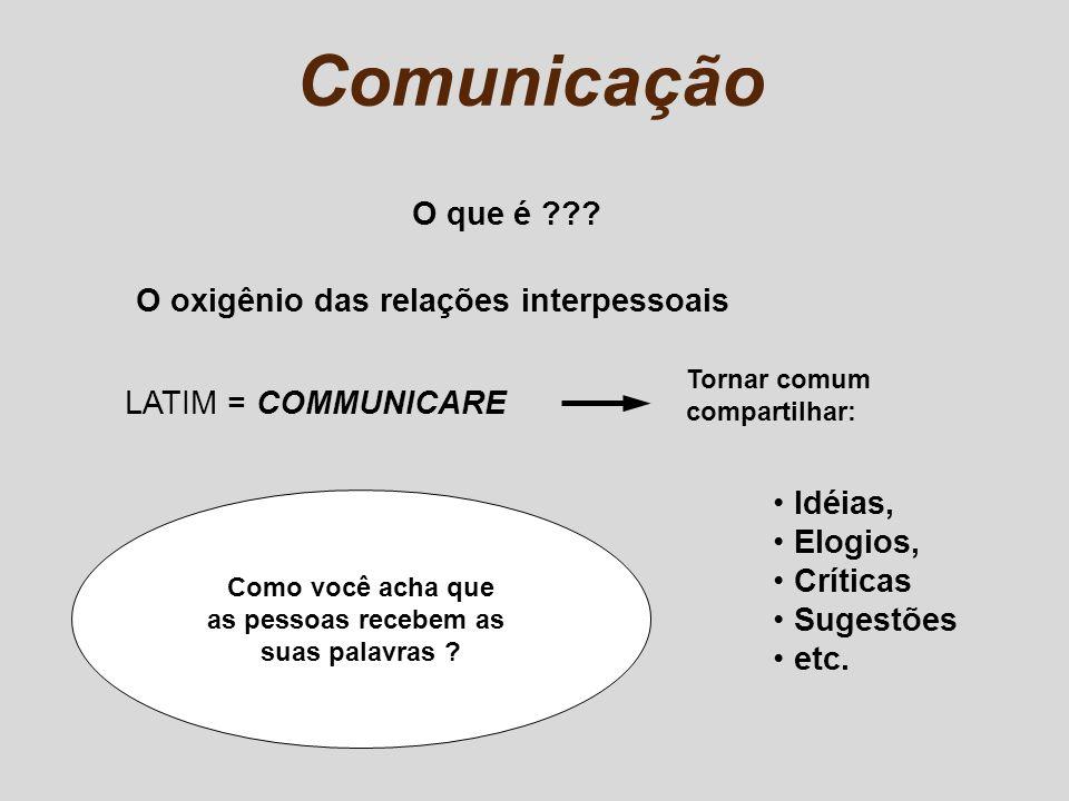 COMUNICAÇÃO = PERCEPÇÃO