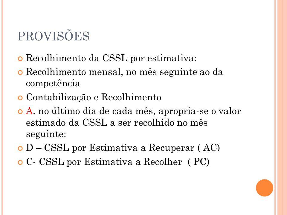 PROVISÕES Recolhimento da CSSL por estimativa: Recolhimento mensal, no mês seguinte ao da competência Contabilização e Recolhimento A.