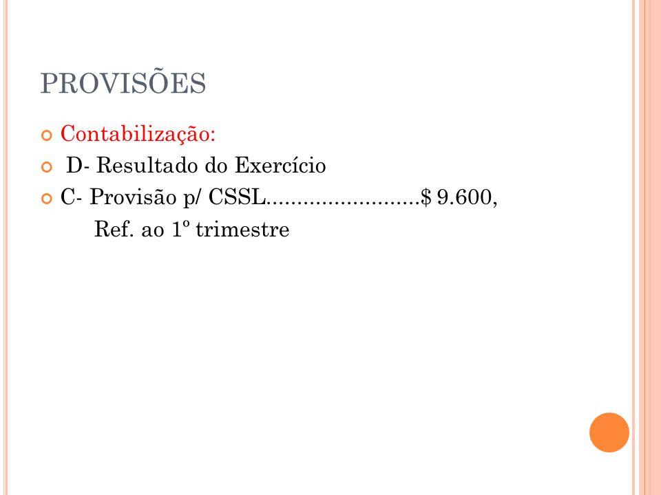 PROVISÕES Contabilização: D- Resultado do Exercício C- Provisão p/ CSSL.........................$ 9.600, Ref.