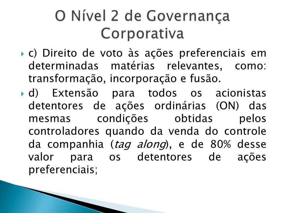 c) Direito de voto às ações preferenciais em determinadas matérias relevantes, como: transformação, incorporação e fusão. d) Extensão para todos os ac