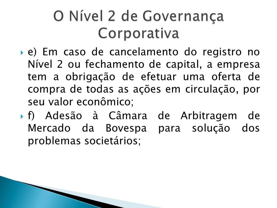 e) Em caso de cancelamento do registro no Nível 2 ou fechamento de capital, a empresa tem a obrigação de efetuar uma oferta de compra de todas as açõe