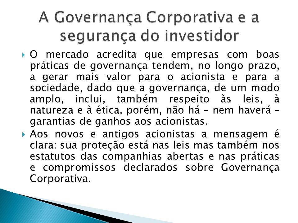 O mercado acredita que empresas com boas práticas de governança tendem, no longo prazo, a gerar mais valor para o acionista e para a sociedade, dado q