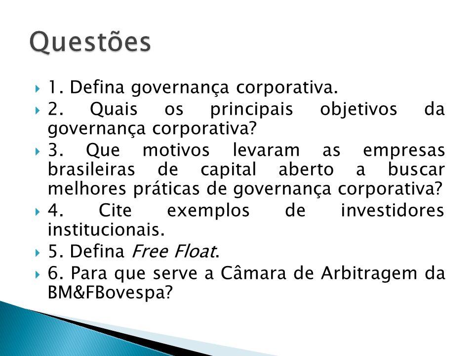 1. Defina governança corporativa. 2. Quais os principais objetivos da governança corporativa? 3. Que motivos levaram as empresas brasileiras de capita