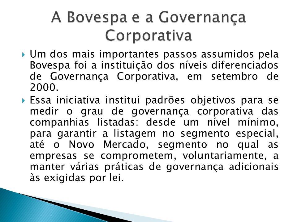 Um dos mais importantes passos assumidos pela Bovespa foi a instituição dos níveis diferenciados de Governança Corporativa, em setembro de 2000. Essa