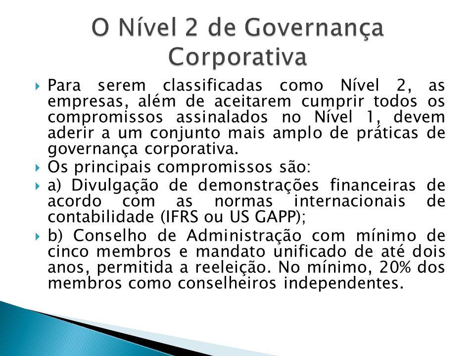 Para serem classificadas como Nível 2, as empresas, além de aceitarem cumprir todos os compromissos assinalados no Nível 1, devem aderir a um conjunto