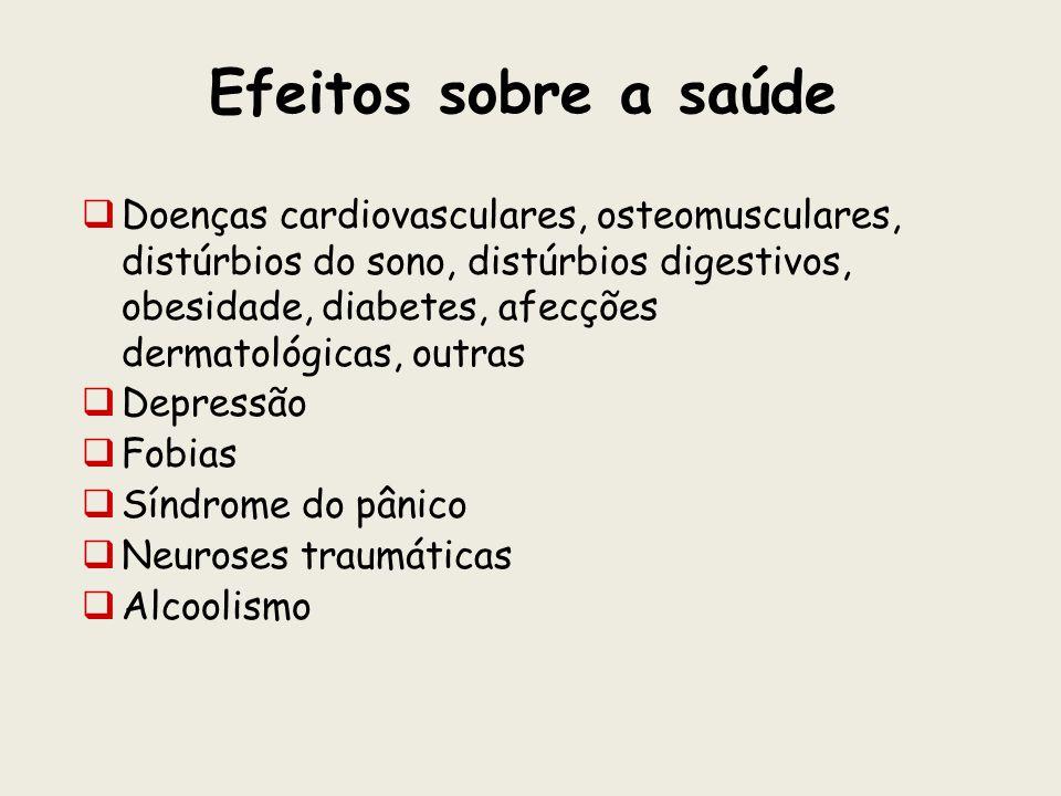 Efeitos sobre a saúde Doenças cardiovasculares, osteomusculares, distúrbios do sono, distúrbios digestivos, obesidade, diabetes, afecções dermatológic