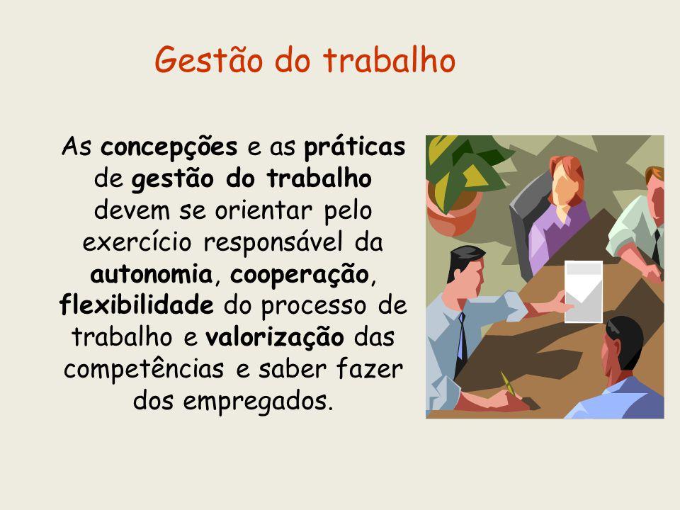 As concepções e as práticas de gestão do trabalho devem se orientar pelo exercício responsável da autonomia, cooperação, flexibilidade do processo de
