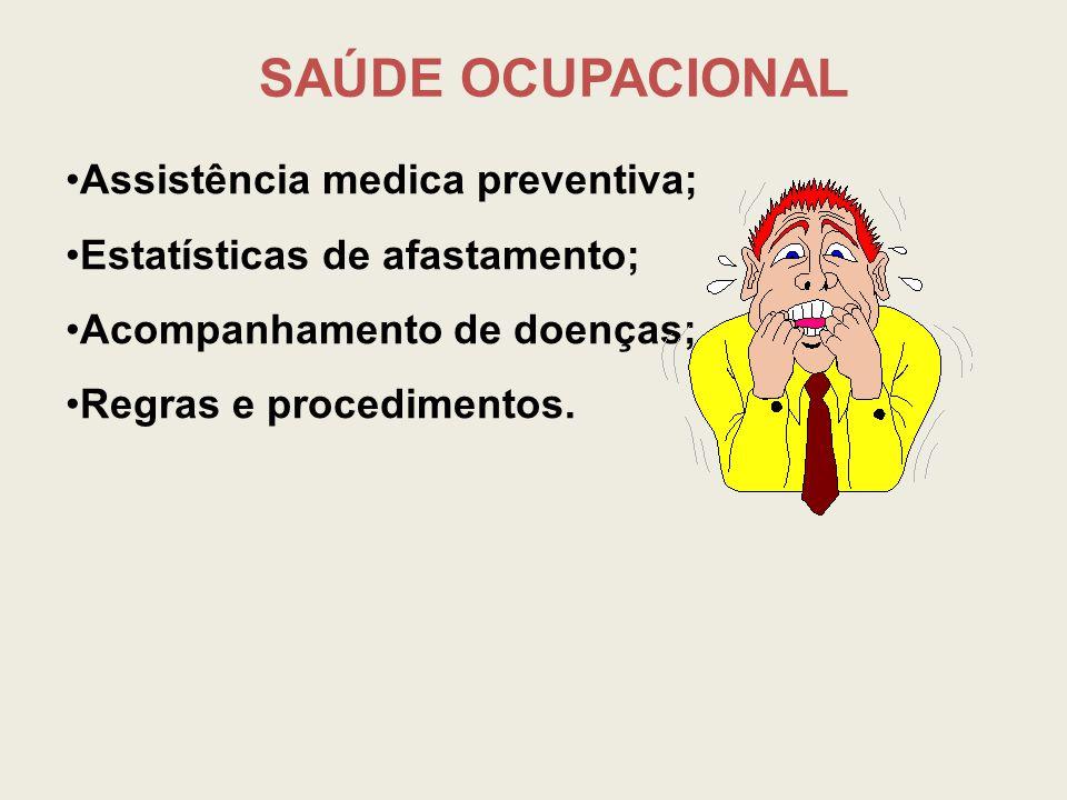 Assistência medica preventiva; Estatísticas de afastamento; Acompanhamento de doenças; Regras e procedimentos. SAÚDE OCUPACIONAL