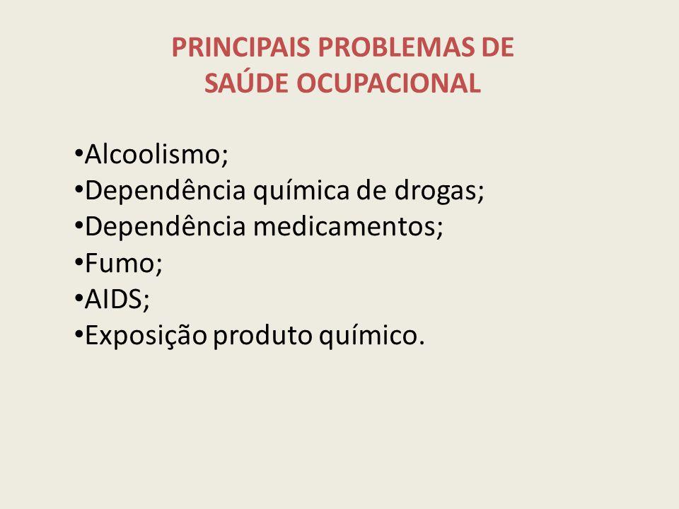 PRINCIPAIS PROBLEMAS DE SAÚDE OCUPACIONAL Alcoolismo; Dependência química de drogas; Dependência medicamentos; Fumo; AIDS; Exposição produto químico.