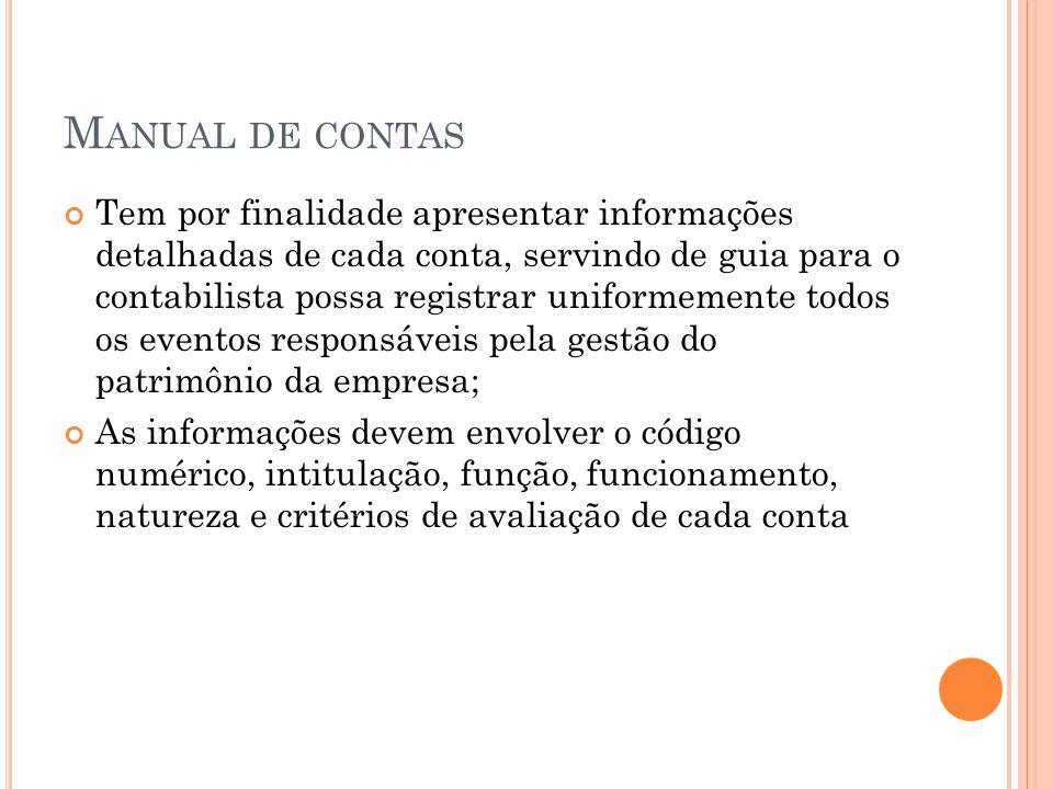 M ANUAL DE CONTAS Tem por finalidade apresentar informações detalhadas de cada conta, servindo de guia para o contabilista possa registrar uniformemen