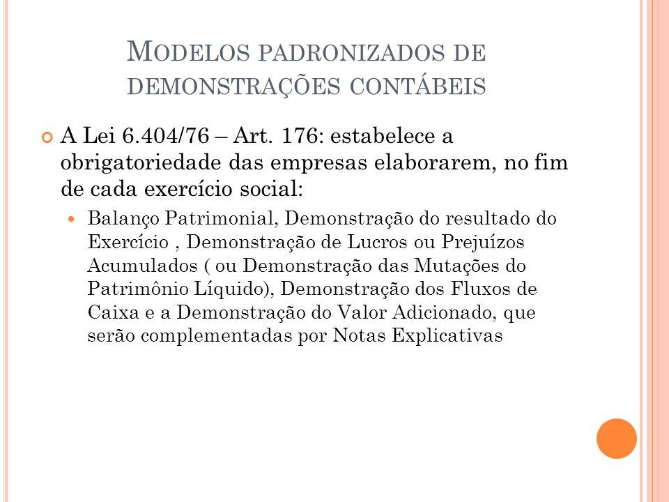 M ODELOS PADRONIZADOS DE DEMONSTRAÇÕES CONTÁBEIS A Lei 6.404/76 – Art. 176: estabelece a obrigatoriedade das empresas elaborarem, no fim de cada exerc