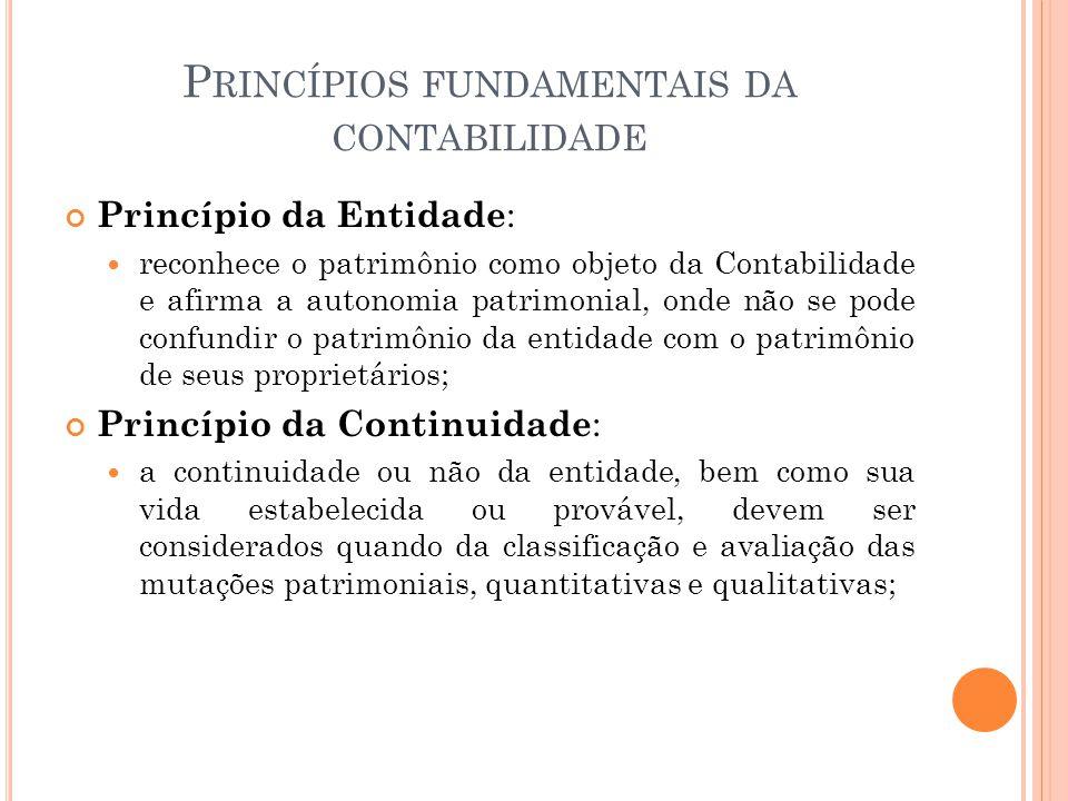 P RINCÍPIOS FUNDAMENTAIS DA CONTABILIDADE Princípio da Entidade : reconhece o patrimônio como objeto da Contabilidade e afirma a autonomia patrimonial