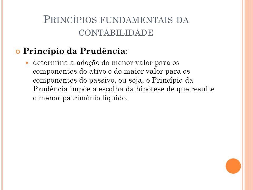 P RINCÍPIOS FUNDAMENTAIS DA CONTABILIDADE Princípio da Prudência : determina a adoção do menor valor para os componentes do ativo e do maior valor par