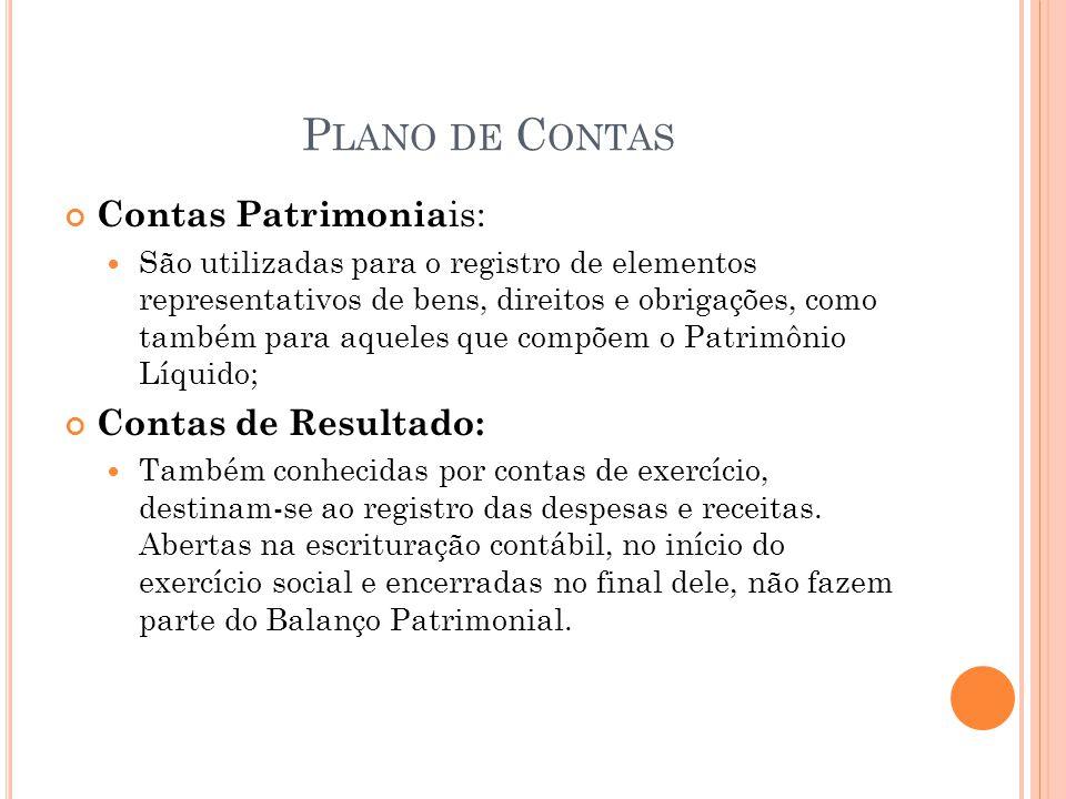 P LANO DE C ONTAS Contas Patrimonia is: São utilizadas para o registro de elementos representativos de bens, direitos e obrigações, como também para a