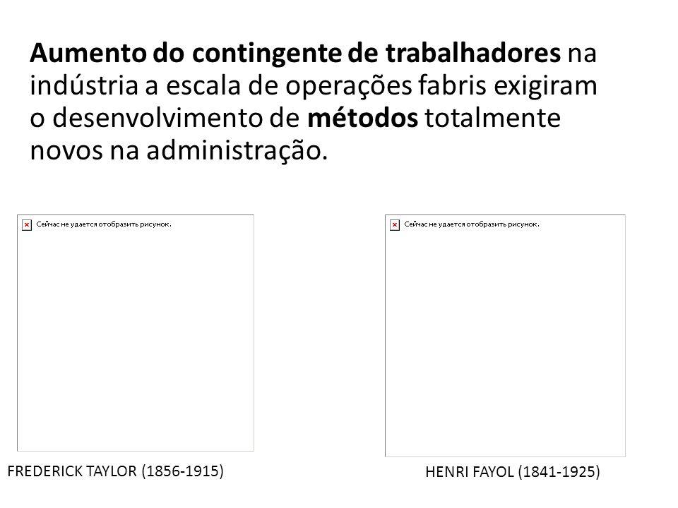 FREDERICK TAYLOR (1856-1915) HENRI FAYOL (1841-1925) Aumento do contingente de trabalhadores na indústria a escala de operações fabris exigiram o dese
