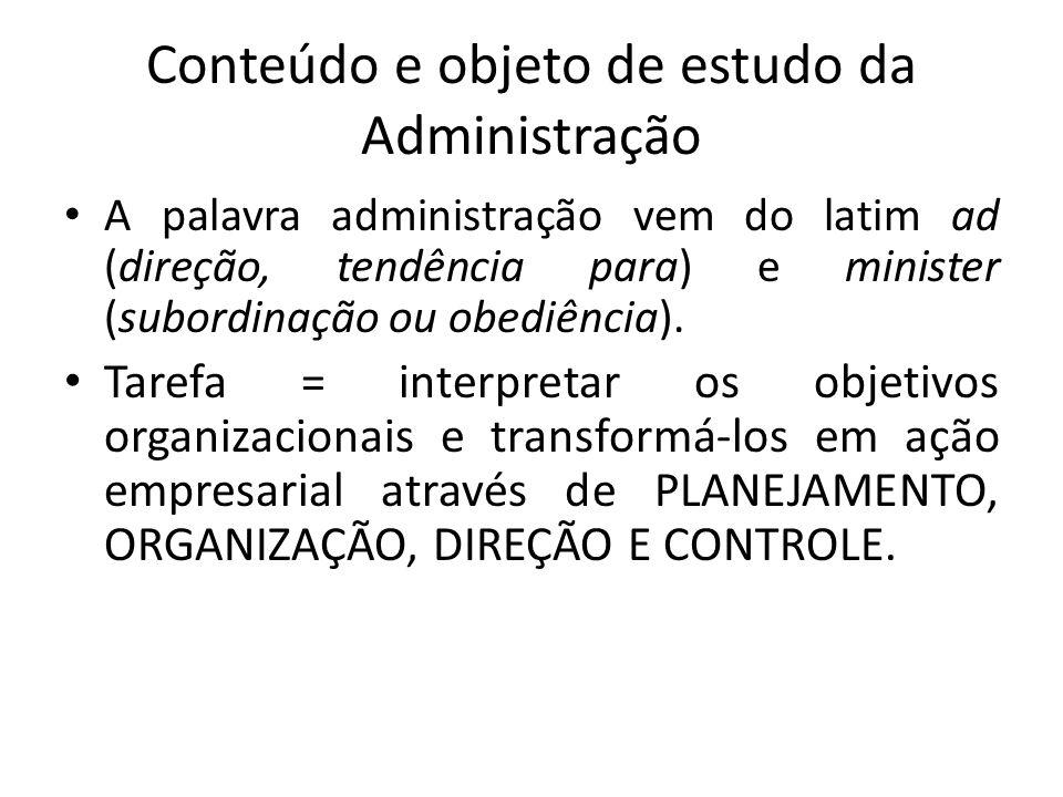 Conteúdo e objeto de estudo da Administração A palavra administração vem do latim ad (direção, tendência para) e minister (subordinação ou obediência)