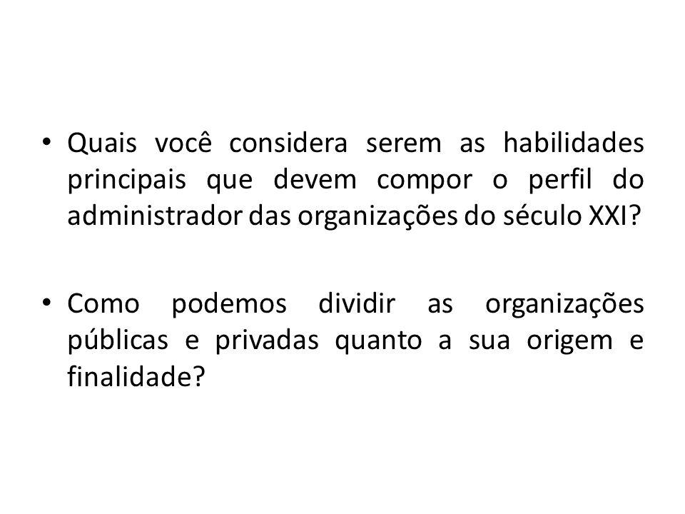 Quais você considera serem as habilidades principais que devem compor o perfil do administrador das organizações do século XXI? Como podemos dividir a