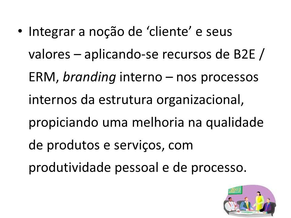 Integrar a noção de cliente e seus valores – aplicando-se recursos de B2E / ERM, branding interno – nos processos internos da estrutura organizacional