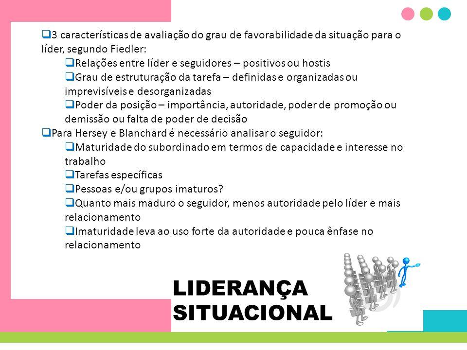 LIDERANÇA SITUACIONAL 3 características de avaliação do grau de favorabilidade da situação para o líder, segundo Fiedler: Relações entre líder e segui