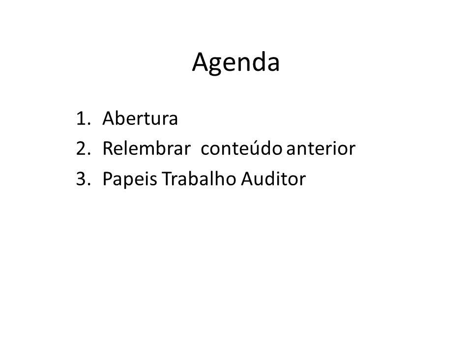 Agenda 1.Abertura 2.Relembrar conteúdo anterior 3.Papeis Trabalho Auditor