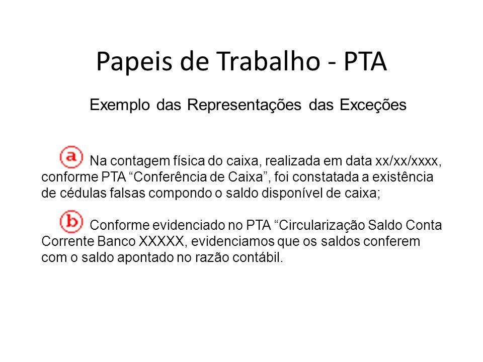 Exemplo das Representações das Exceções Na contagem física do caixa, realizada em data xx/xx/xxxx, conforme PTA Conferência de Caixa, foi constatada a
