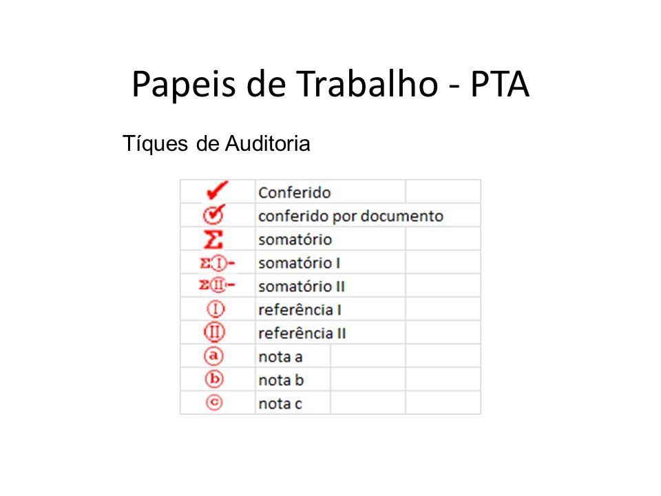 Tíques de Auditoria Papeis de Trabalho - PTA