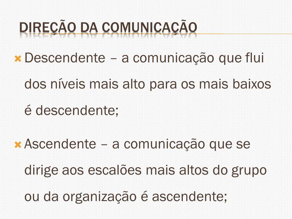 Descendente – a comunicação que flui dos níveis mais alto para os mais baixos é descendente; Ascendente – a comunicação que se dirige aos escalões mai