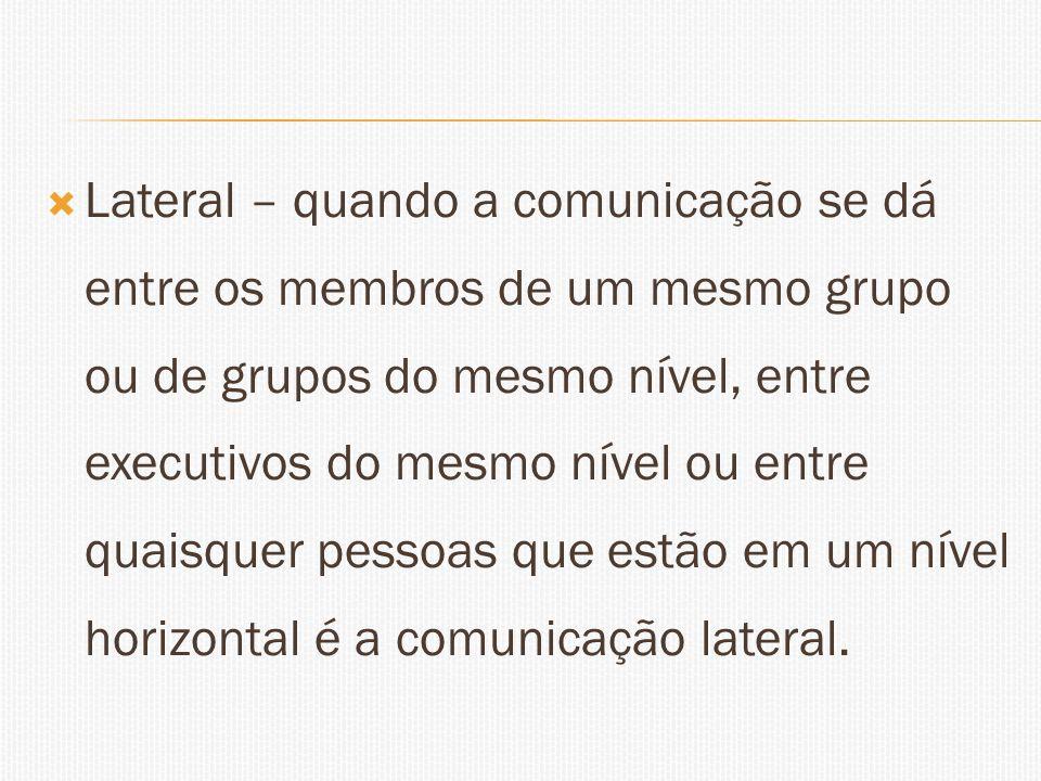 Lateral – quando a comunicação se dá entre os membros de um mesmo grupo ou de grupos do mesmo nível, entre executivos do mesmo nível ou entre quaisque