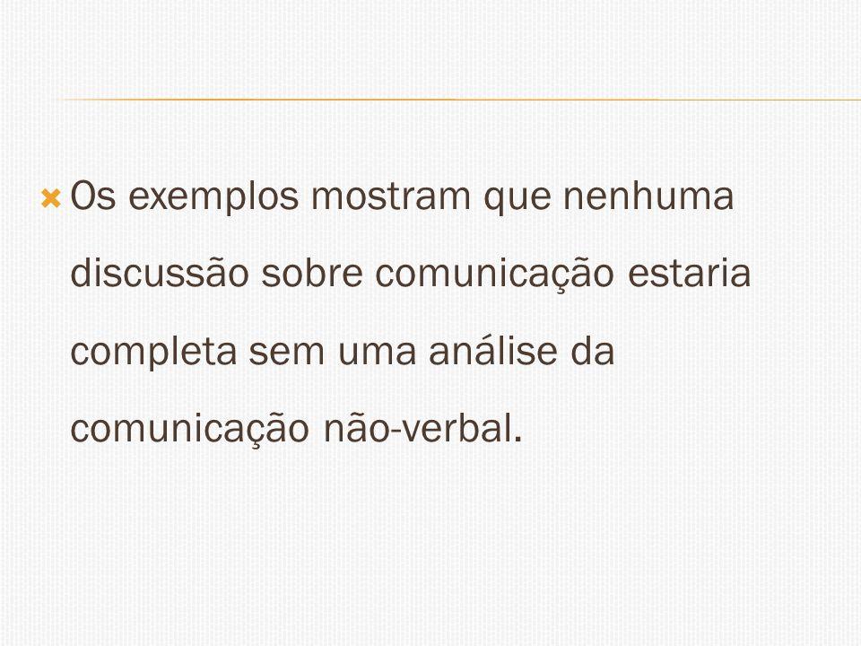 Os exemplos mostram que nenhuma discussão sobre comunicação estaria completa sem uma análise da comunicação não-verbal.