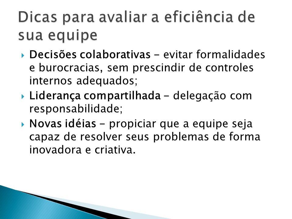 Decisões colaborativas - evitar formalidades e burocracias, sem prescindir de controles internos adequados; Liderança compartilhada - delegação com re