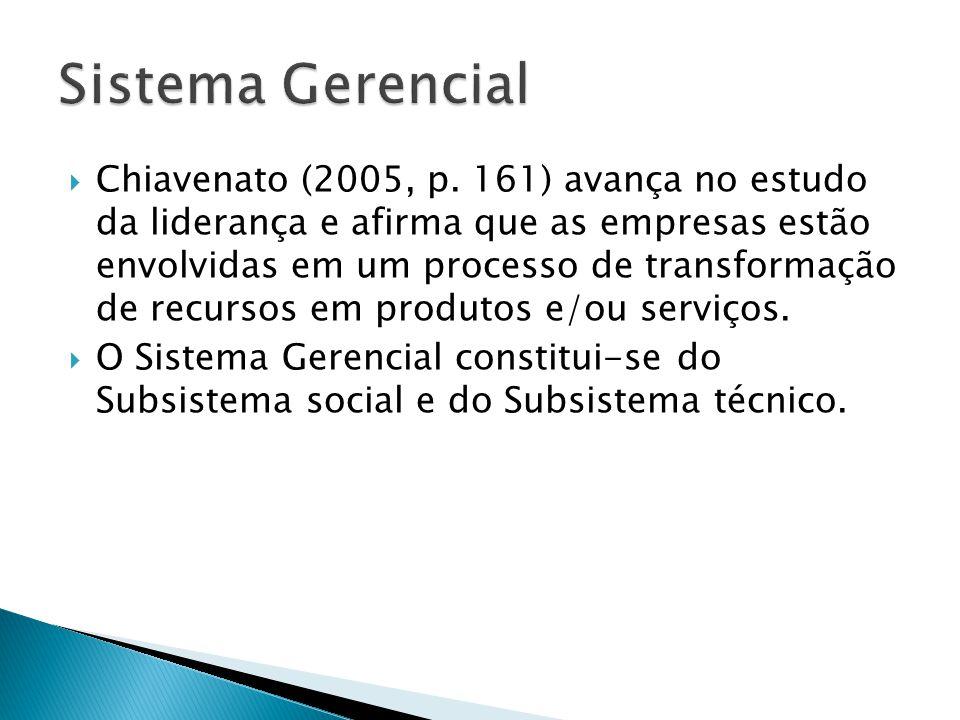 Chiavenato (2005, p. 161) avança no estudo da liderança e afirma que as empresas estão envolvidas em um processo de transformação de recursos em produ