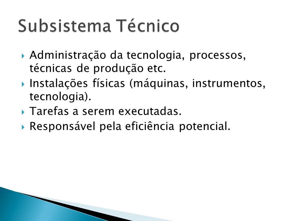 Administração da tecnologia, processos, técnicas de produção etc. Instalações físicas (máquinas, instrumentos, tecnologia). Tarefas a serem executadas