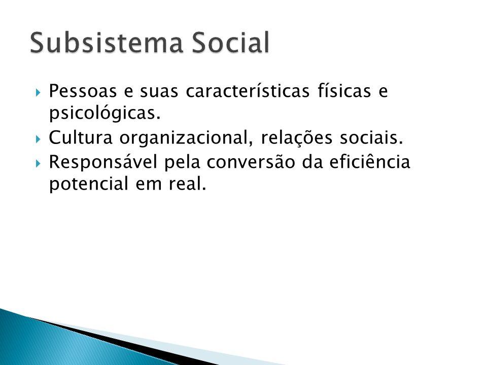Pessoas e suas características físicas e psicológicas. Cultura organizacional, relações sociais. Responsável pela conversão da eficiência potencial em