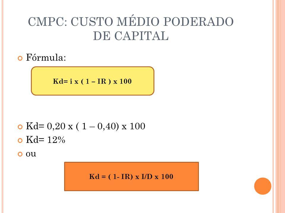 CMPC: CUSTO MÉDIO PODERADO DE CAPITAL Fórmula: Kd= 0,20 x ( 1 – 0,40) x 100 Kd= 12% ou Kd= i x ( 1 – IR ) x 100 Kd = ( 1- IR) x I/D x 100