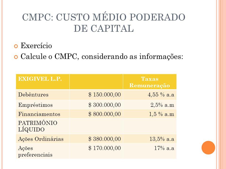 CMPC: CUSTO MÉDIO PODERADO DE CAPITAL Exercício Calcule o CMPC, considerando as informações: EXIGIVEL L.P.Taxas Remuneração Debêntures$ 150.000,004,55