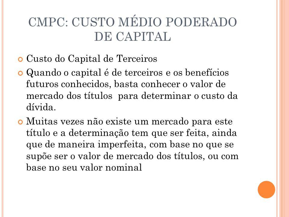 CMPC: CUSTO MÉDIO PODERADO DE CAPITAL Custo do Capital de Terceiros Quando o capital é de terceiros e os benefícios futuros conhecidos, basta conhecer