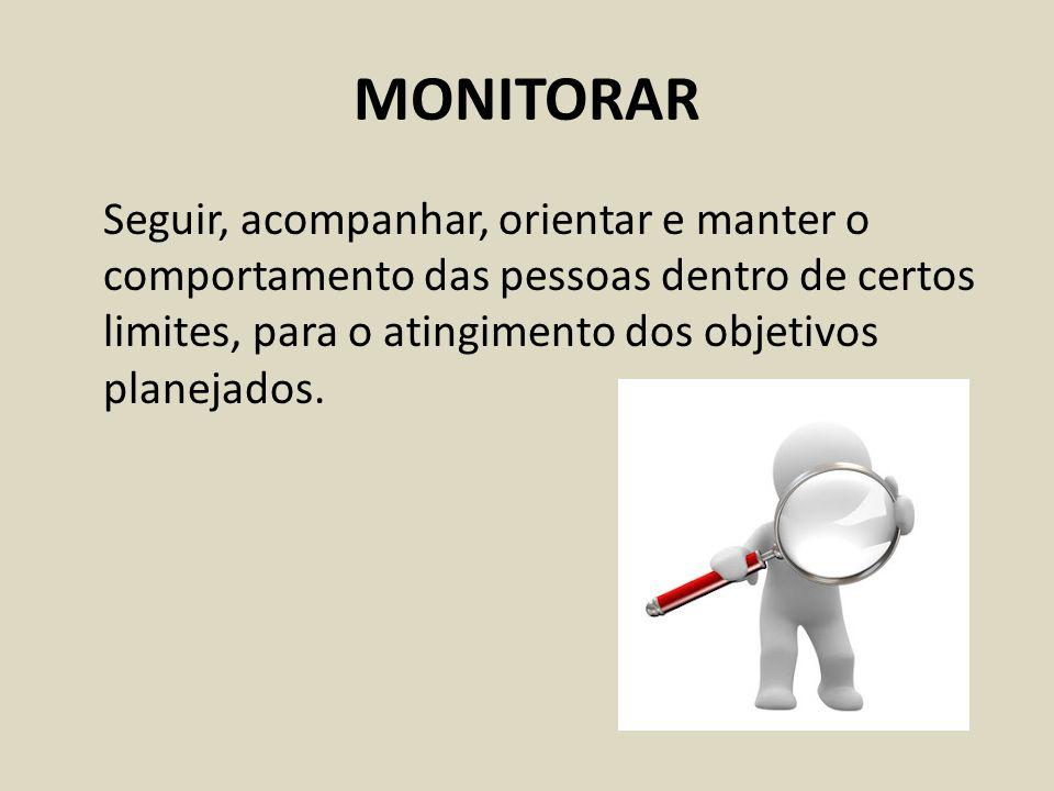 MONITORAR Seguir, acompanhar, orientar e manter o comportamento das pessoas dentro de certos limites, para o atingimento dos objetivos planejados.