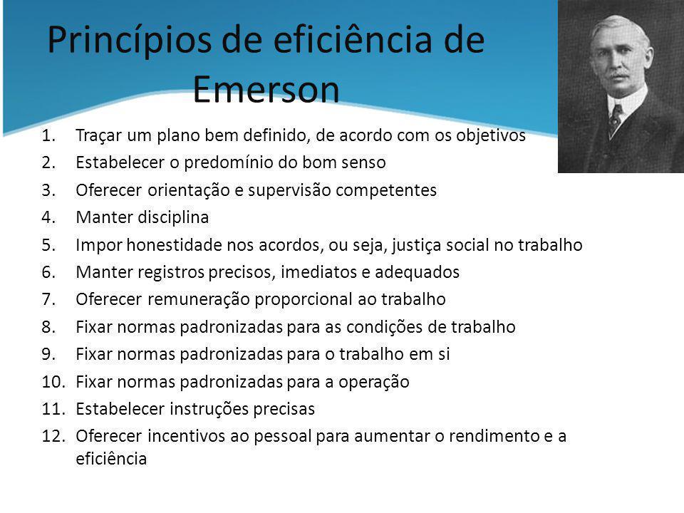 Princípios de eficiência de Emerson 1.Traçar um plano bem definido, de acordo com os objetivos 2.Estabelecer o predomínio do bom senso 3.Oferecer orie