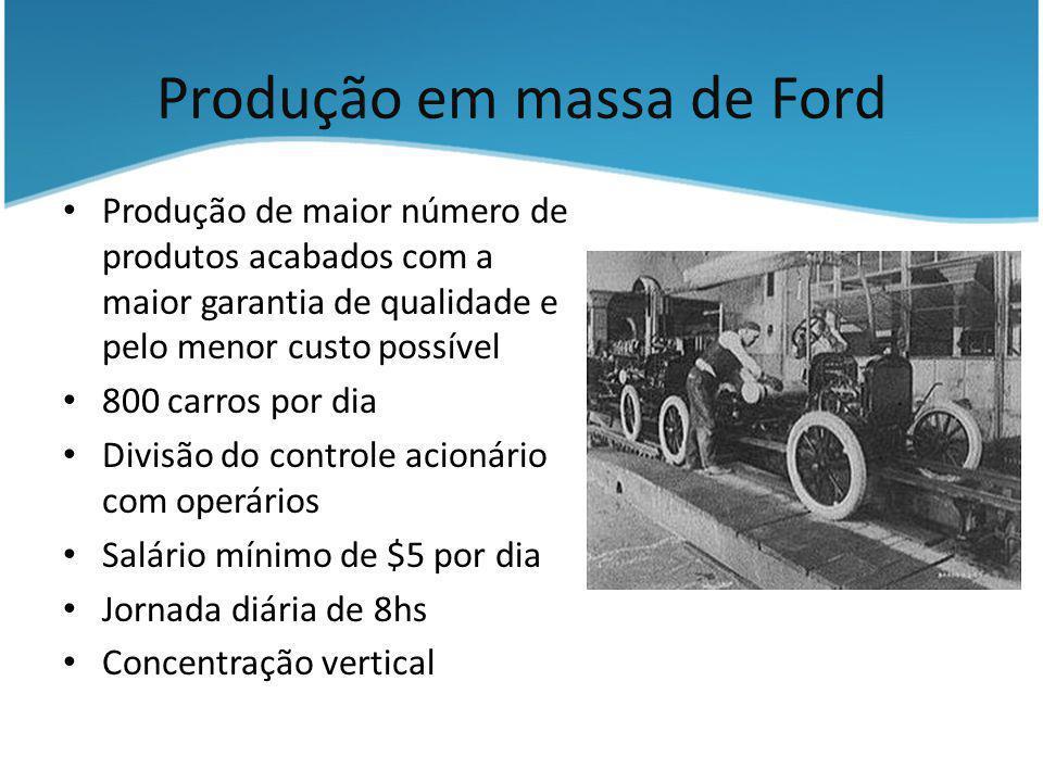 Produção em massa de Ford Produção de maior número de produtos acabados com a maior garantia de qualidade e pelo menor custo possível 800 carros por d