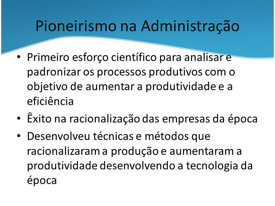 Pioneirismo na Administração Primeiro esforço científico para analisar e padronizar os processos produtivos com o objetivo de aumentar a produtividade