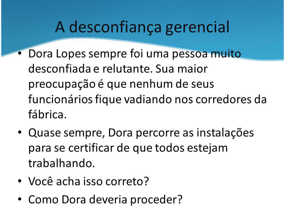 A desconfiança gerencial Dora Lopes sempre foi uma pessoa muito desconfiada e relutante. Sua maior preocupação é que nenhum de seus funcionários fique