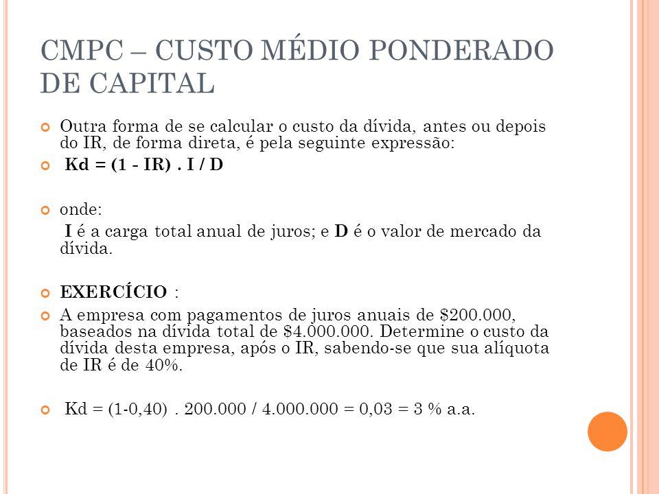 CMPC – CUSTO MÉDIO PONDERADO DE CAPITAL Outra forma de se calcular o custo da dívida, antes ou depois do IR, de forma direta, é pela seguinte expressã