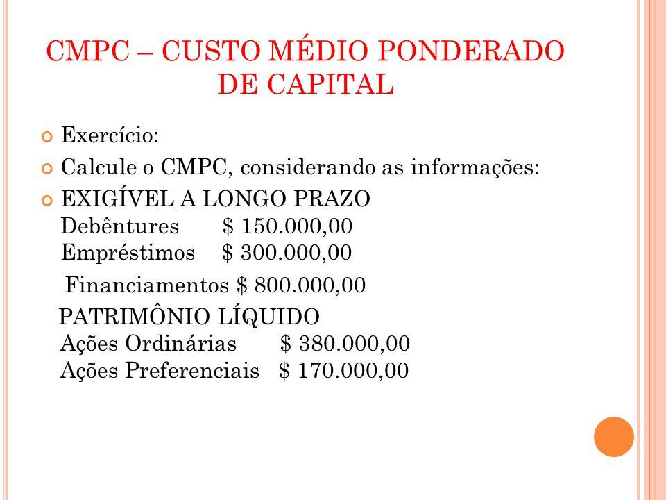 CMPC – CUSTO MÉDIO PONDERADO DE CAPITAL Exercício: Calcule o CMPC, considerando as informações: EXIGÍVEL A LONGO PRAZO Debêntures $ 150.000,00 Emprést