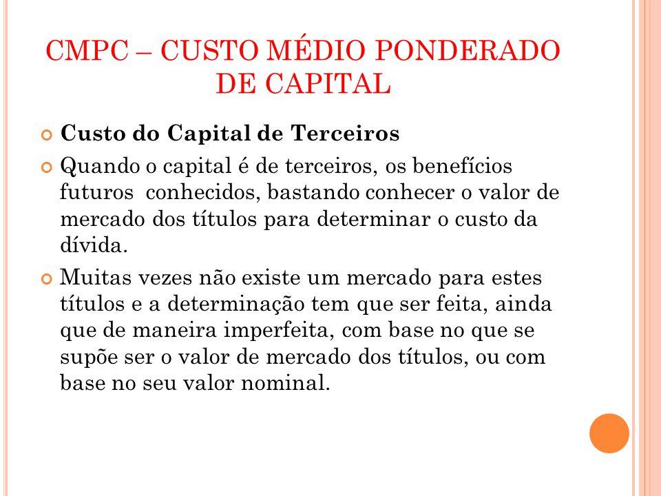 CMPC – CUSTO MÉDIO PONDERADO DE CAPITAL Custo do Capital de Terceiros Quando o capital é de terceiros, os benefícios futuros conhecidos, bastando conh