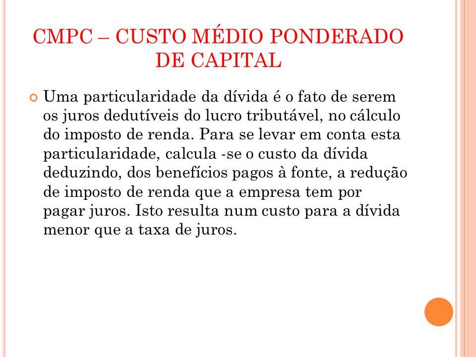 CMPC – CUSTO MÉDIO PONDERADO DE CAPITAL Uma particularidade da dívida é o fato de serem os juros dedutíveis do lucro tributável, no cálculo do imposto