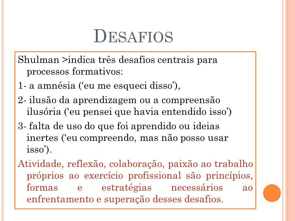 D ESAFIOS Shulman >indica três desafios centrais para processos formativos: 1- a amnésia (eu me esqueci disso), 2- ilusão da aprendizagem ou a compree