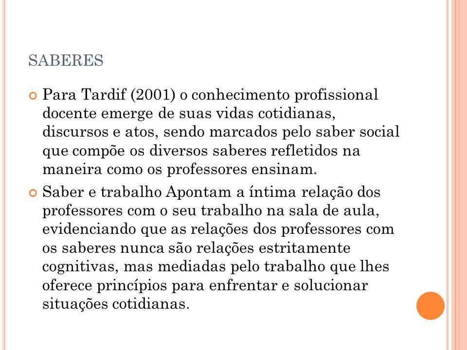 SABERES Para Tardif (2001) o conhecimento profissional docente emerge de suas vidas cotidianas, discursos e atos, sendo marcados pelo saber social que