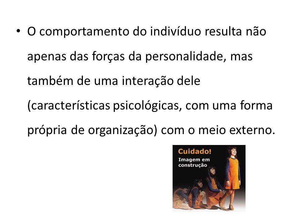 O comportamento do indivíduo resulta não apenas das forças da personalidade, mas também de uma interação dele (características psicológicas, com uma f